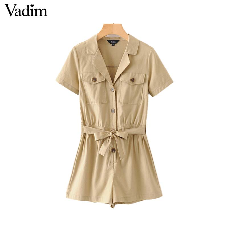 Vadim Playsuits Buttons Short-Sleeve Chic Safari-Style Female Khaki Casual Women V-Neck