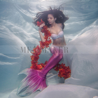 Anime Mermaid Tail Cosplay Costume Dress Fin Red Green Blue Free Shipping Woman Girl Adult 2017