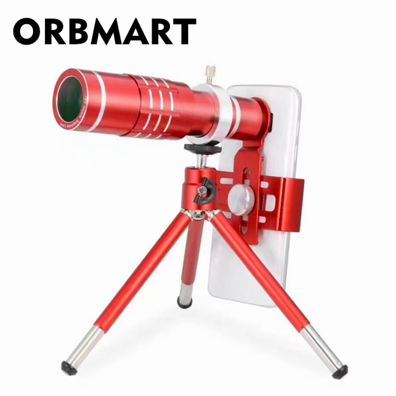 ORBMART Chinese Red 18x Universal Clip Zoom Optical Telescope Magnification For iPhone 6 6s Plus 7 Samsung S8 S8+ S7 Phone Lens