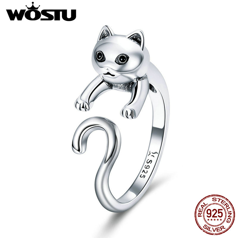 WOSTU 100% Real 925 Sterling Silver Cute Pet Cat Finger Rings For Women Authentic Silver Party Ring Fine Jewelry Gift CQR409 wostu new arrival real 925 sterling silver luminous glow rings for women authentic fine jewelry gift zbb7640