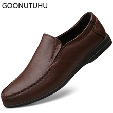 купить Men' shoes casual genuine leather cow 2019 new slip on loafers male brown black flat shoe man comfortable driving shoes for men по цене 3582.22 рублей