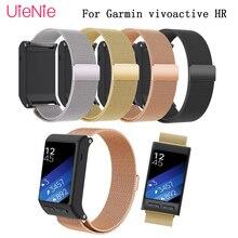 24cm strap accessories wrist Wristband Milan magnetic ring stainless steel bracelet wrist strap for Garmin vivoactive HR Band titanium pressure reduction magnetic wrist strap black