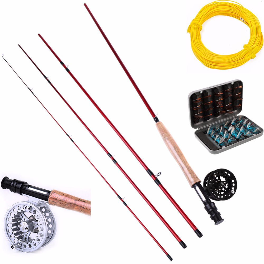 Sougayialng 8.86FT #5/6 Fly Fishing Rod Set 2.7M Fly Rod and Fly Reel Combo with Fly Fishing Lure and Line As Gift De Pesca free shipping 5 6 4 segments sections fly fishing rod full metal reel water proof rod bag lines box lure set kit