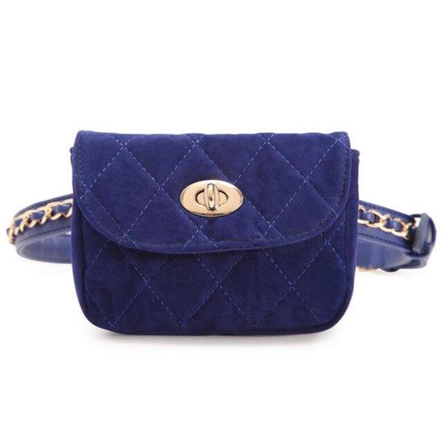 New Designer Women Belt Bag Velvet Mini Waist Bag  Crossbody Plaid Small Women Travel Bags Waist Pack Bolsas