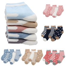 5 pairs/lot Children cotton socks Boy,girl,Baby,Infant Keep warm stripe Dots fas