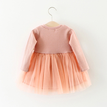 Little Bitty Fashion Autumn New Girls Cotton Long-sleeved Knitting Dress Thickening Baby Girl Princess Dress
