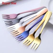 4 Pcs/Lot Luxury Gold Cake Forks Stainless Steel Salad Fork Thick Cutlery Set Fruit Fork Salad Dessert Fork