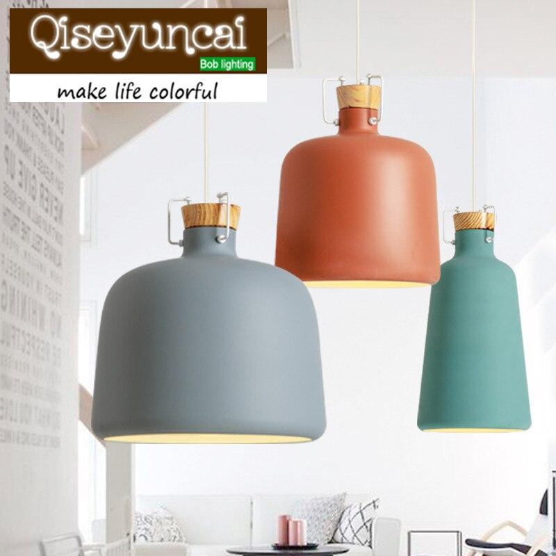 Qiseyuncai Nordic minimalist dining room modern aluminum Pendant Lights personality designer solid wood bedroom lamp