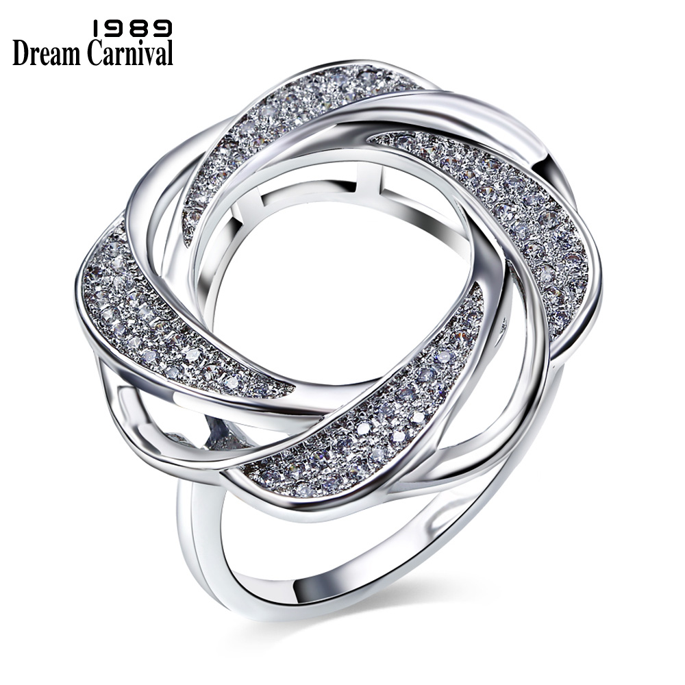 DreamCarnival 1989 Hollow Flower Ring For Women CZ Paved Rhodium Gold Color Whirling Design Deluxe Bagues Femme Anillos SJ24573