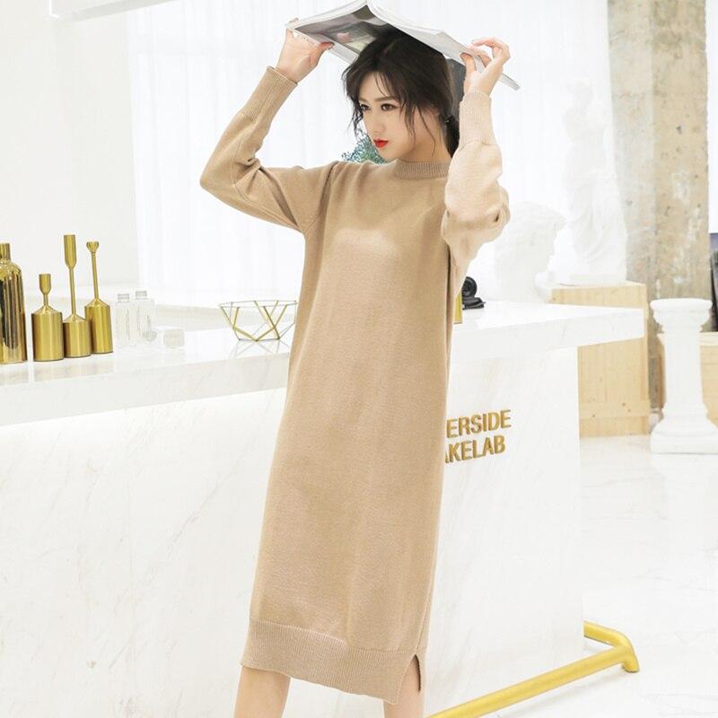 9f6c1080a65bee Kopen Goedkoop 2018 Vintage Koreaanse Mode Winter Jurk Vrouwen Hoge Taille  O hals Plus Size Trui Jurk Lange Mouwen Gebreide Jurk Lange Dikke Prijs