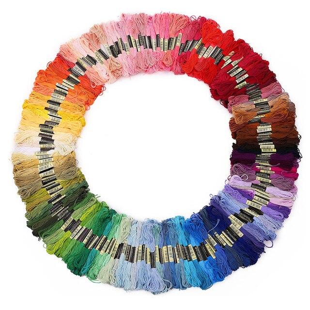 447 חתיכות צלב סטיץ אשכולות כל שונה צבע רקמת חוט פקעות קרפט Dofferent שיפוע צבע חוט 7.8 מטרים