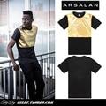 Arsalan 2014 chegada nova qualidade de moda homem t-shirt dos homens soltos camisas hiphop pu patchwork de couro dos homens camisa