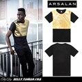 Los 2014 recién llegado de calidad gold brillante hombre moda t-shirt hombre mens sueltos hiphop camisetas pu patchwork hombres de cuero de la camiseta