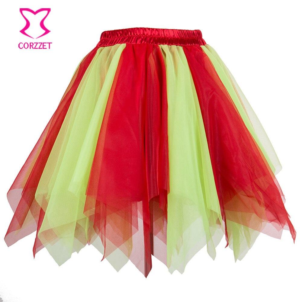 Red Yellow Asymmetrical Mesh Mini Skirts Womens Tulle Skirt Women Adult Tutu Petticoat Jupe Sexy Club Dance Wear Faldas Mujer