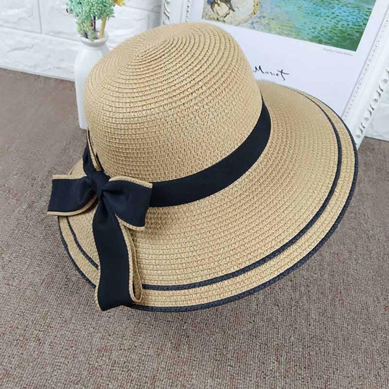 44a972312 ... Summer Outdoor Sun Hats Fashion Lady Wide-Brimmed Hat Folding Beach Bow Cap  Fashion Casual