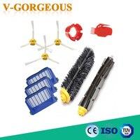 1 Bristle Flexible Beater 3 Aero Vac Filter 3 Side Brush Tool Replacement Kit For IRobot