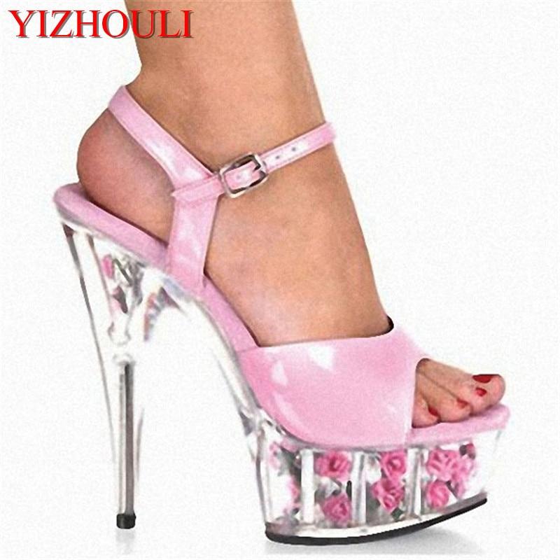 efa46e60b2d3 Rose Transparent De Mode Romantique Rose 15 cm À Talons Hauts Chaussures  Princesse Danse Sandales 6 Pouce Exotique Sexy Fleurs En Cristal chaussures