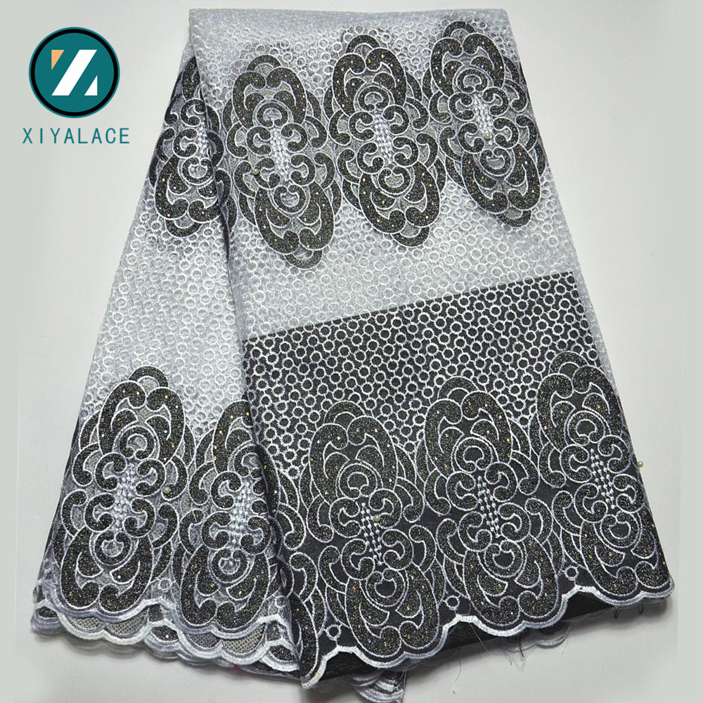 Latest Net French Lace Material High Quality French Net African Lace Fabric With Stone Nigerian Wedding African Lace PGC166B 4-in Lace from Home & Garden    3