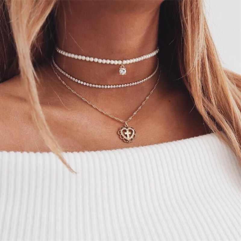 Bohemia pingente correntes colares para mulheres multi camada lua crescente vintage feminino colares gargantilha jóias agradável presente