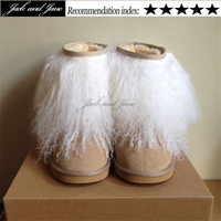 Cute Eskimo No Bearpaw Womens Furry White Black Pink Mongolian Fur Boots Winter Outside Plus Size