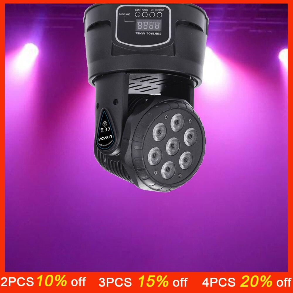 7LED 105 W RGBW 9/14 канала DMX512 Мини вращающейся головкой сцена освещения лампы Dj света для внутреннего Дискотека KTV клуб вечерние