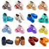2016 100 Genuine Leather Baby Moccasins Hand Made Rose Gold Girls Baby Shoes Boys Tassel First