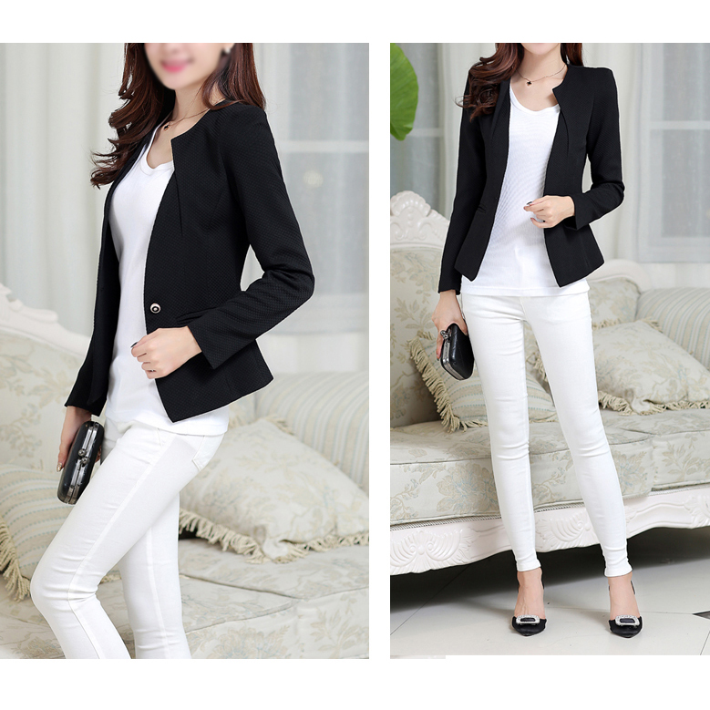 SYB 2016 Fashion Spring Women Slim Blazer feminino Coat Casual Jacket Long Sleeve One Button Suit Black Ladies Blazers Work Wear
