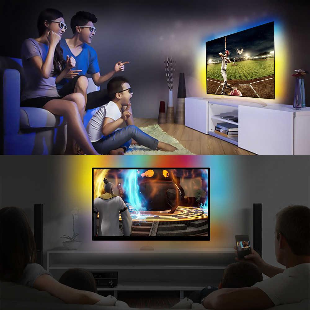 WS2812 RGB USB Dây ĐÈN LED ánh sáng HDTV TV Màn Hình MÁY TÍNH Màn Hình Đèn Nền chiếu sáng Ambilight ws2812b Băng Nơ Dây 1M ~ 5M