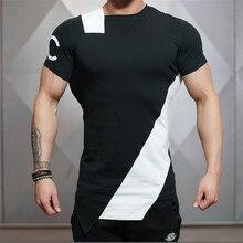 2016 Fashion Men T-Shirts Irregular Muscle Short Sleeves T Shirt Stringer Fitness Clothing Slim Fit Tops Tee Shirt