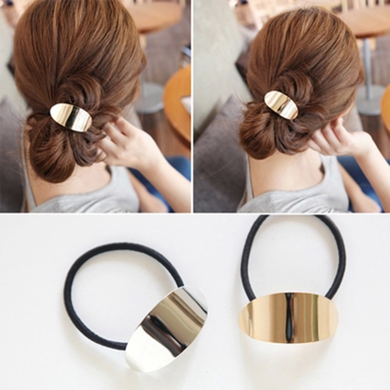 Fashion Personality Alloy Hair Cuff Cool Metal Circle Women Band Rope  rubber band Hair accessories-in Women s Hair Accessories from Apparel  Accessories on ... f70b7f6fdb7