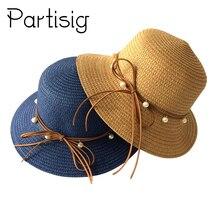 Children Straw Hat Pearl Decorate Sun Hat For Girls Summer Kids Caps Panama Baby Hats