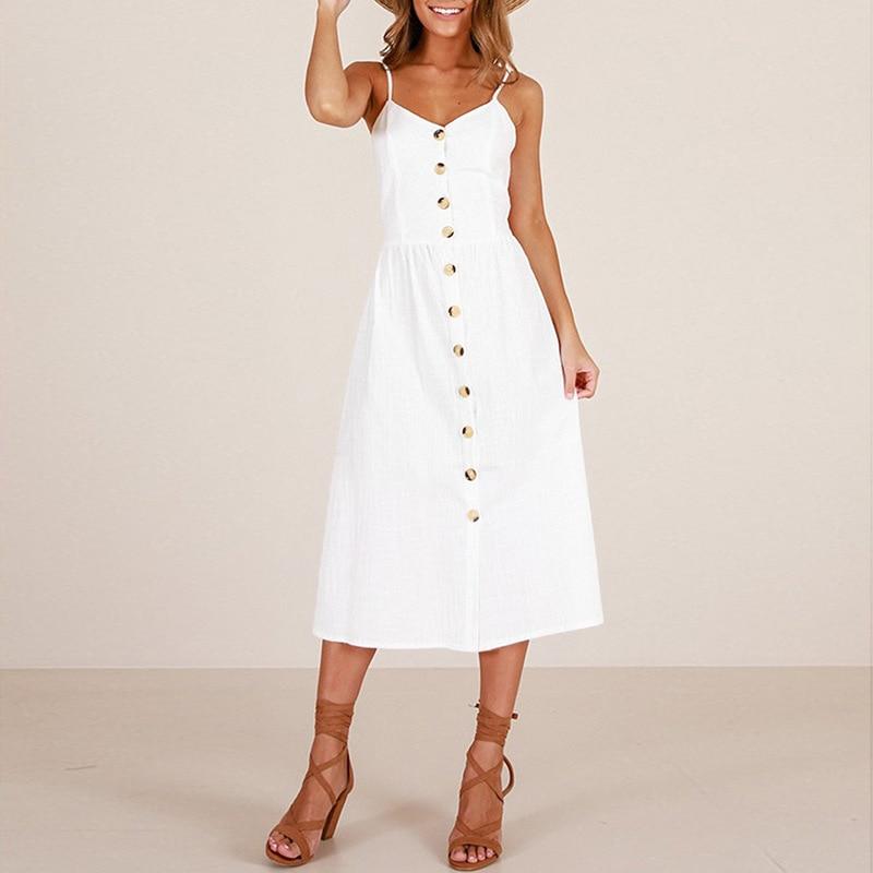 2019 Botão Branco vestido Midi plus size roupas de verão para as mulheres escritório vestido estampado branco vestidos casuales de verano moda mujer
