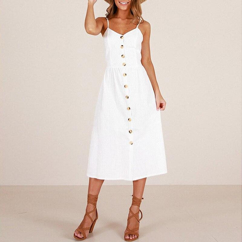 2019 robe blanche Midi bouton grande taille vêtements d'été pour femmes bureau robe imprimer branco vestidos casual de verano moda mujer