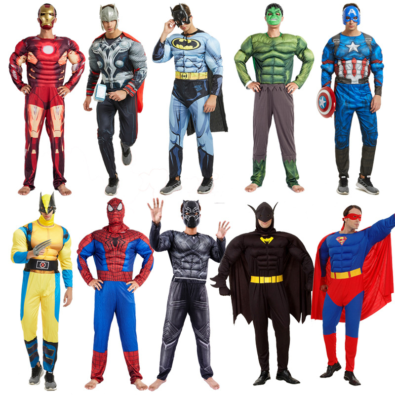 Cosplay Adult Muscle Hero Costume Hulk Spiderman Batman Iron Man Superman And Other Avengers Superheroes Play Costumes