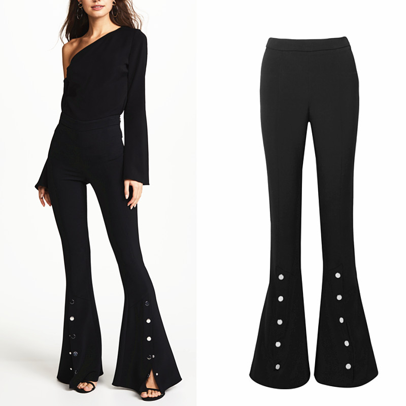 Longer Size Can fit 160cm -200cm height flare pants 2018 new Fashion brand England style Split was thin flare trousers WQ07