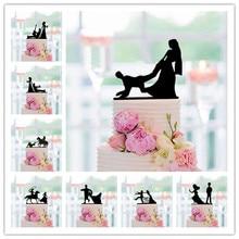 Персонализированный смешанный смешной Топпер для свадебного торта, черный акриловый Топпер для торта с силуэтом невесты и жениха для украш...