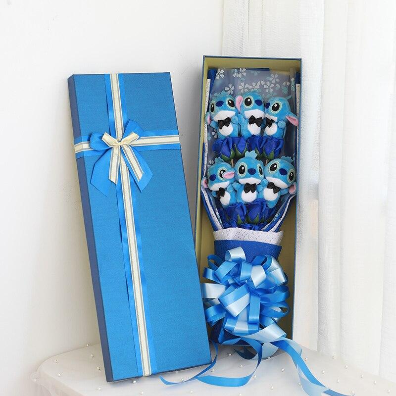 2019 chaud belle bande dessinée jouets en peluche point Festivals cadeau Bouquet avec de fausses fleurs pour la saint-valentin fête de mariage Decora MD09