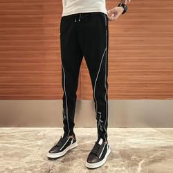 Группа Новый корейский Для мужчин брюки Мода 2018 Pantalon Homme Повседневное Slim Fit Хип-хоп штаны-шаровары с принтом ботильоны Длина черные брюки