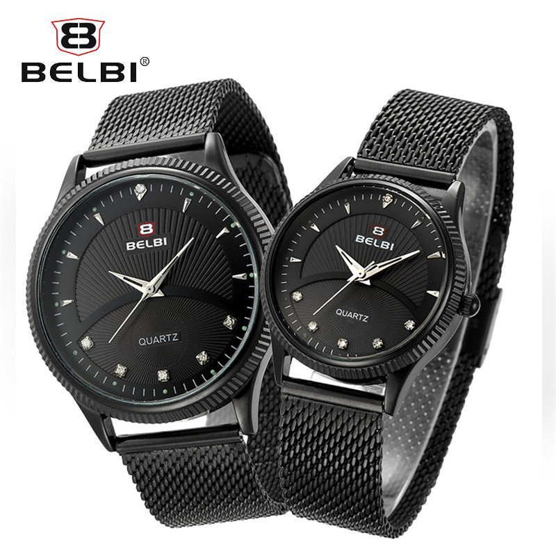 BELBI Couple Watches Diamond Watch for Men and Women Ultra-Thin Steel Watchstrap Clock Business Japan Quartz Movement Hodinky