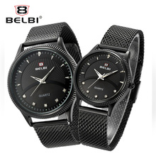 hot deal buy belbi lovers wristwatches diamond nail dial design for men and women business quartz watches fashion couple steel clock hodinky