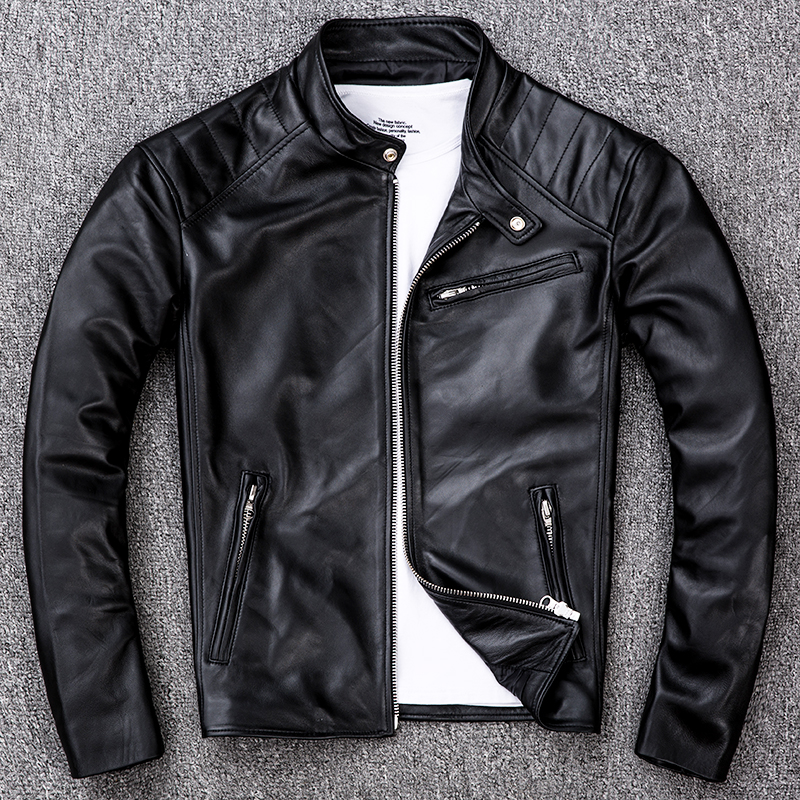 Free Shipping.sales Brand Soft Sheepskin Motor Coat.mens Genuine Leather Jacket.slim Biker Leather Clothes.plus Size Jacket