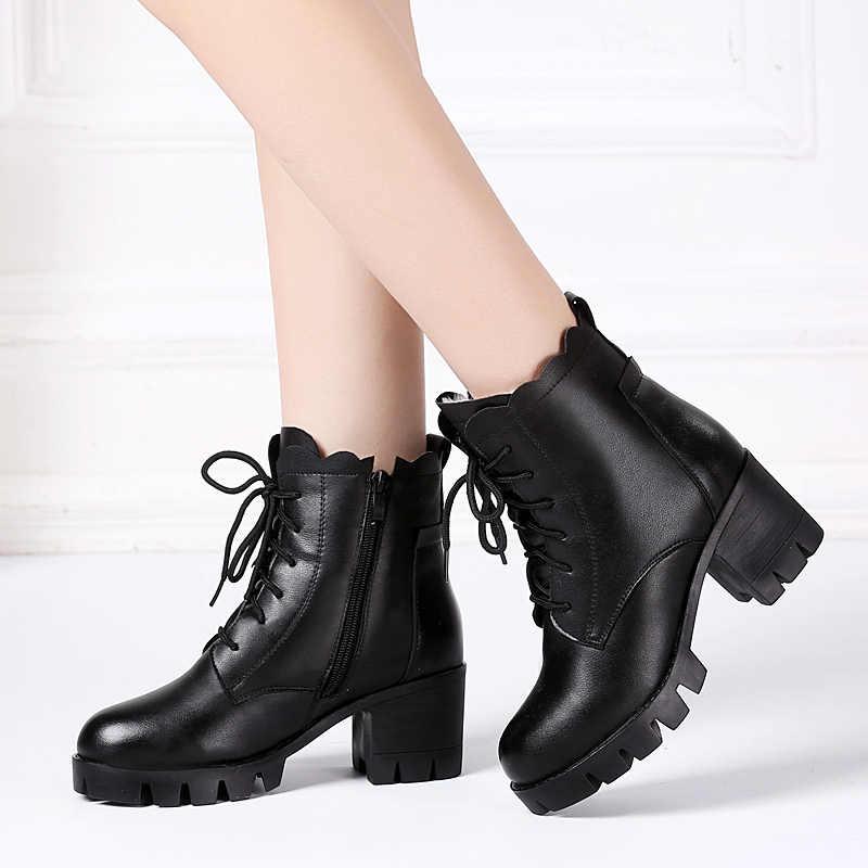 DRKANOL/2018 женские зимние ботинки, Зимние ботильоны на высоком каблуке, женская теплая обувь на платформе, натуральная кожа, толстая шерсть, меховые ботинки