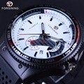Победитель Гонки Стиль Резинкой Мужские Часы Лучший Бренд Класса Люкс Автоматические часы Мода Часы Механические Часы Мужчины Белый Циферблат
