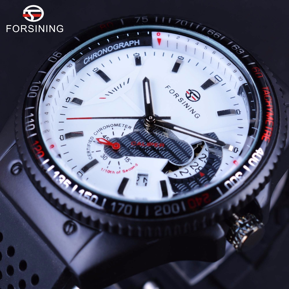 Winner Sport Racing Style Rubber Band Mens Watches Top Brand Luxury Automatic Fashion Watch Mechanical Clock Men White Dial mens watch top luxury brand fashion hollow clock male casual sport wristwatch men pirate skull style quartz watch reloj homber