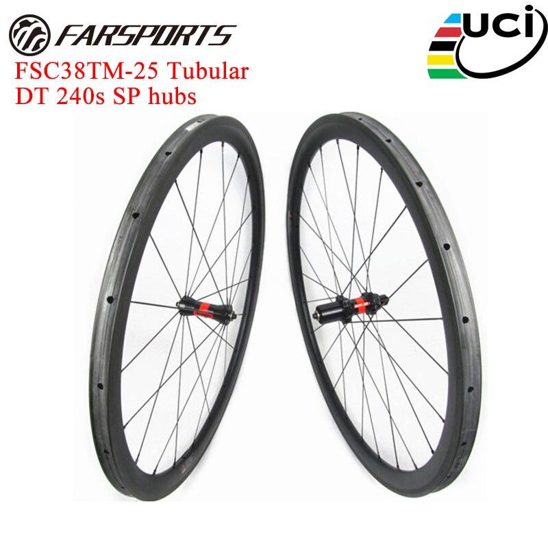 Roues tubulaires en carbone 38mm haut de gamme pour FSC38TM-25 de vélo de route 700C roues en carbone complètes disque CX disponible