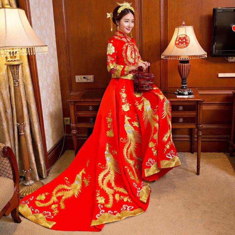 Ny drake och Phoenix Bride Kinesisk stil Marry Tailing Wedding - Nationella kläder - Foto 4