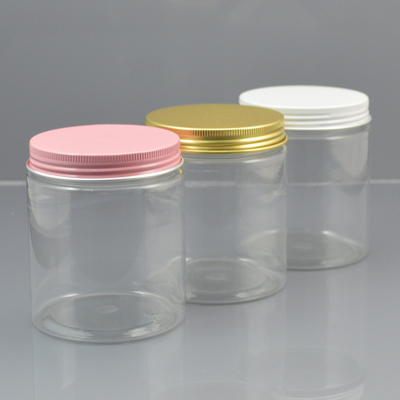 50pc/lot 250g Plastic Cosmetic Jar Clear Serum Bottle Gold White Pink Aluminum Cap Cream Container  Factory Wholesale