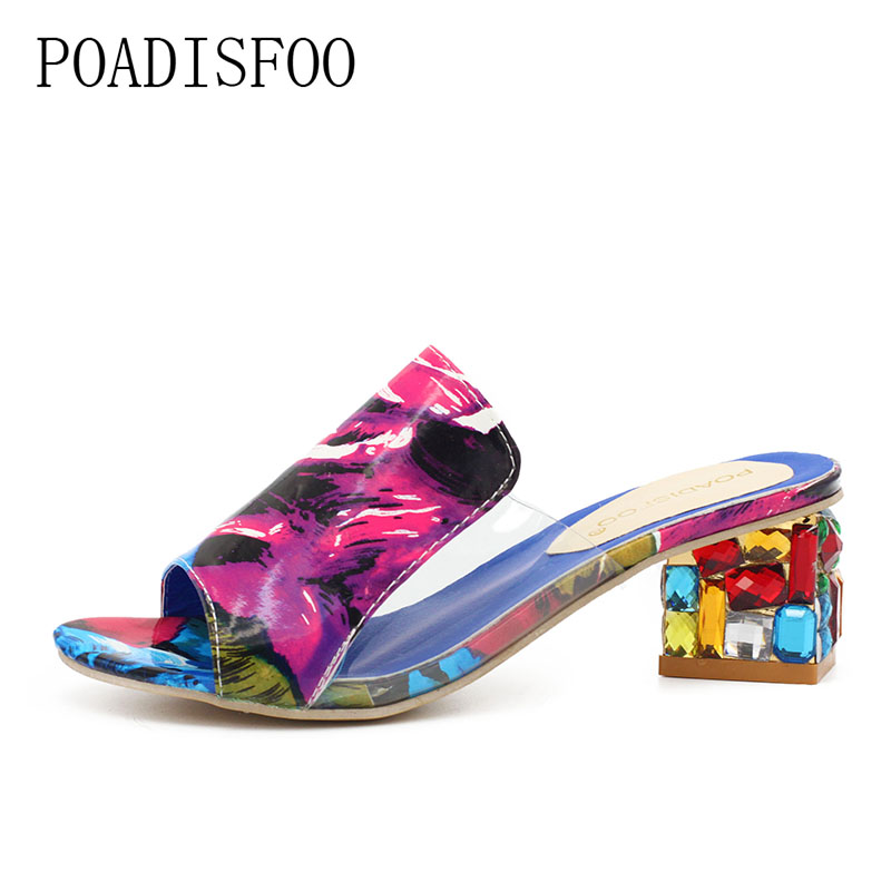 POADISFOO Women Sandals 2017 Ladies Summer Slippers Shoes Women high Heels Sandals The new diamond fashion sandals .HYKL-818 poadisfoo 2017 new summer style slip on women sandals flats for women black white color slippers shoes women hykl 1603