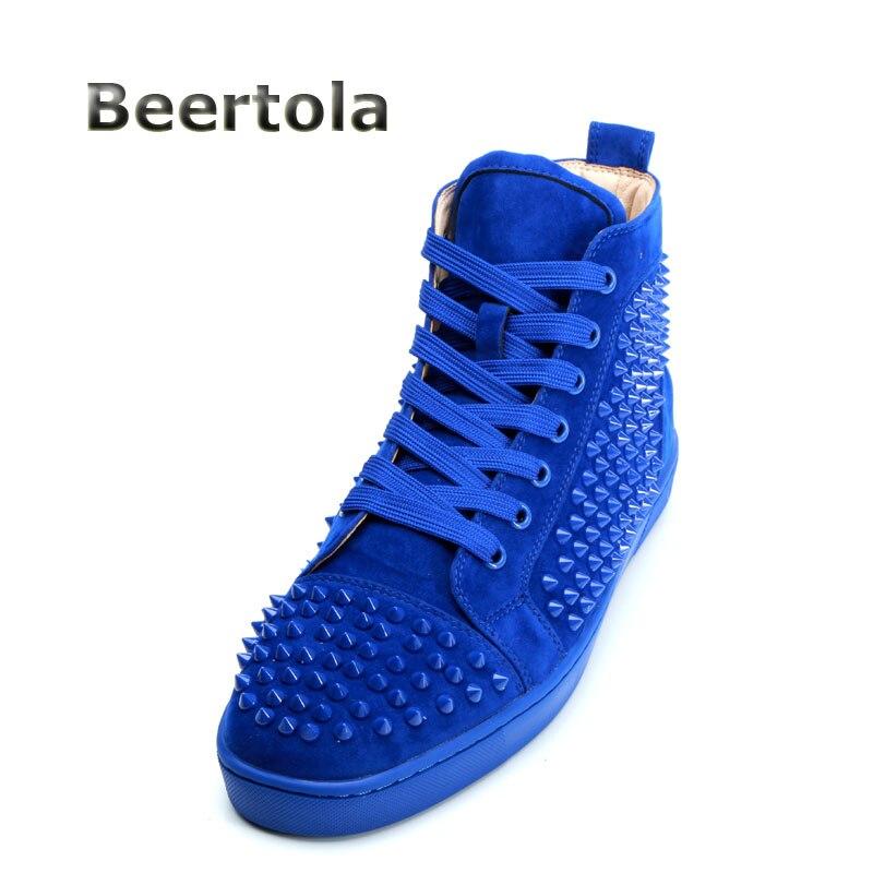 Qualité Bottines Hombre En Casual Chaussures 3845 Designer Zapatilla Beertola Top Rivet Haute Bleu Daim High Sneakers Hommes AL43R5j