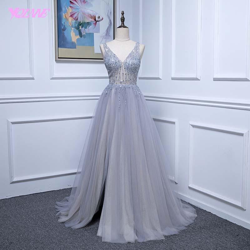 YQLNNE 2018 Sexy Gray Long   Prom     Dresses   Deep V Neck Tulle Crystals Beaded Vestido De Festa
